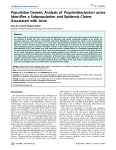 Population Genetic Analysis of Propionibacterium acnes Identifies a ...