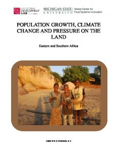 population growth, climate change and pressure on the land