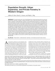 Population Growth, Urban Expansion, and Private Forestry in Western ...