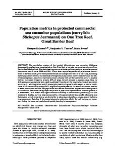 Population metrics in protected commercial sea cucumber populations