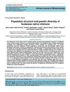 Population structure and genetic diversity of Sudanese native chickens