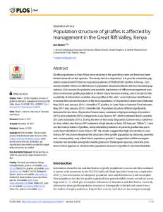Population structure of giraffes is affected by management in ... - PLOS