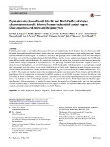 Population structure of North Atlantic and North Pacific sei whales ...
