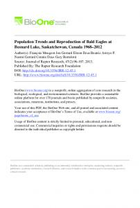 Population Trends and Reproduction of Bald Eagles at Besnard Lake ...