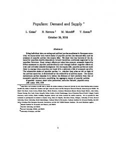 Populism: Demand and Supply