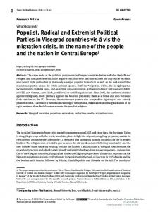 Populist, Radical and Extremist Political Parties in