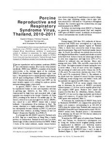Porcine Reproductive and Respiratory Syndrome Virus, Thailand ...