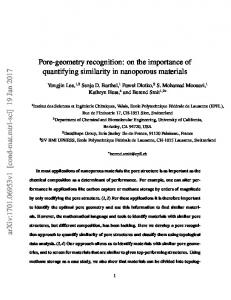 Pore-geometry recognition: on the importance of quantifying similarity ...