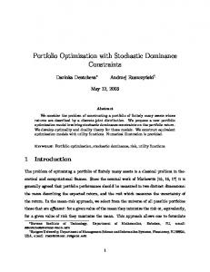 Portfolio Optimization with Stochastic Dominance ... - CiteSeerX