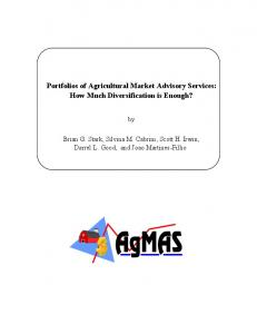 Portfolios of Agricultural Market Advisory Services - AgEcon Search
