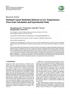 Portland Cement Hydration Behavior at Low Temperatures: Views ...