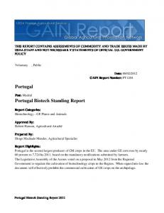 Portugal Biotech Standing Report Portugal