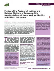 Position of the Academy of Nutrition and Dietetics, Dietitians of ...