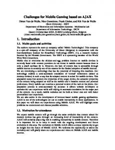 Position paper on Mobile Ajax - World Wide Web Consortium