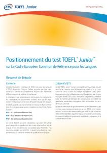 Positionnement du test TOEFL® Junior™ - ETS Global