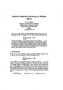 Positive Definite Functions on Hilbert Space