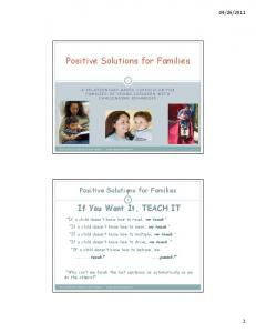 Positive Solutions for Families - APBS