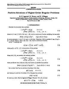 Positive Solutions of Higher-Order Singular Problems - Springer Link