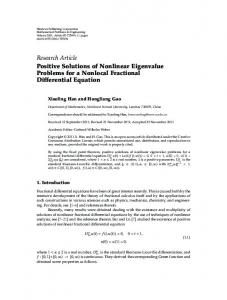 Positive Solutions of Nonlinear Eigenvalue Problems for a Nonlocal ...
