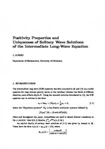 Positivity Properties and Uniqueness of Solitary Wave Solutions of the ...