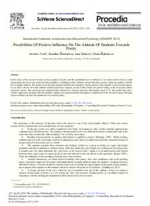 Possibilities of Positive Influence on the Attitude of ... - ScienceDirect