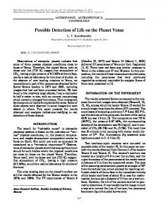 Possible Detection of Life on the Planet Venus - Springer Link