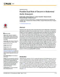 Possible Dual Role of Decorin in Abdominal Aortic ... - Semantic Scholar