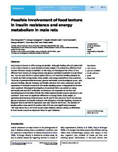 Possible involvement of food texture in insulin resistance and energy ...