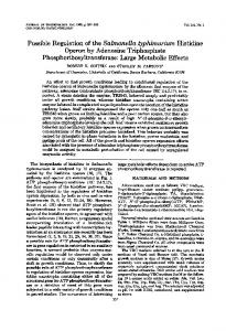 Possible Regulation of the Salmonella typhimurium Histidine ...