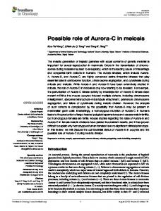 Possible role of Aurora-C in meiosis - Semantic Scholar