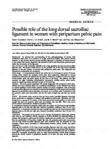 Possible role of the long dorsal sacroiliac ligament ... - Semantic Scholar