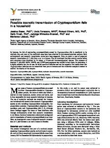 Possible zoonotic transmission of Cryptosporidium felis in a household