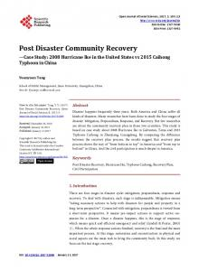 Post Disaster Community Recovery - Scientific Research Publishing