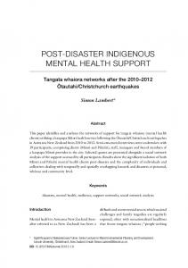 post- disaster indigenous mental health support - MAI Journal