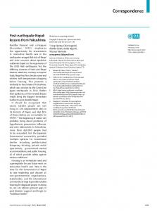 Post-earthquake Nepal: lessons from Fukushima - The Lancet