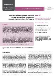 Post-Harvest Management Practices of Yam and Farmers' Information ...