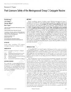 Post-Licensure Safety of the Meningococcal Group C Conjugate Vaccine