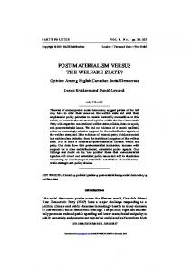 post-materialism versus the welfare state?