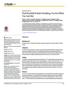 Post-Prandial Protein Handling: You Are What You