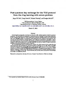 Post-quantum key exchange for the TLS protocol ... - Semantic Scholar