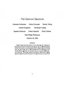 Post-Quantum Signatures - Semantic Scholar