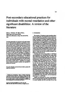 Post-secondary educational practices for ... - Waisman Center