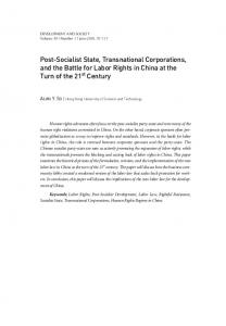 Post-Socialist State, Transnational Corporations, and the ... - S-Space