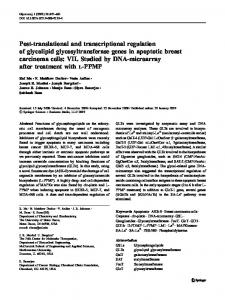 Post-translational and transcriptional regulation of glycolipid