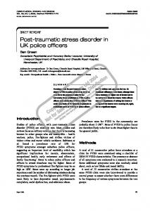 Post-traumatic stress disorder in UK police officers - Green MedicoLegal