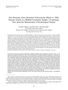 Post-Traumatic Stress Reactions Following the March 11, 2004 ...