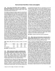 Poster - Nonruminant Nutrition: Sows and piglets