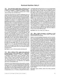 Posters - Ruminant Nutrition: Dairy II