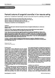 Postnatal outcome of congenital anomalies in ... - Wiley Online Library