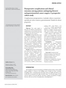 Postoperative complications and clinical outcomes among ... - SciELO